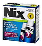 Nix Lice Killing Creme Rinse Family Pack | Includes Nit Combs | 2 Bottles | 2 FL OZ Each