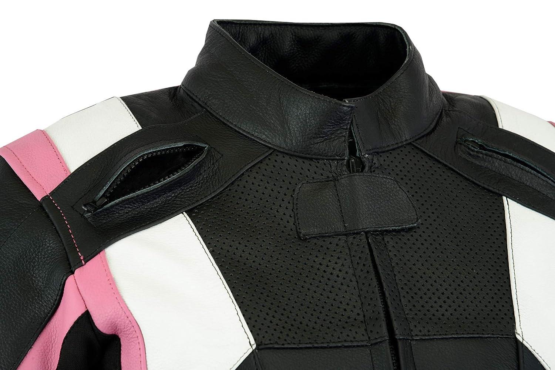 Texpeed Mens Rosa Leather Racing Jacket: Amazon.es: Deportes ...
