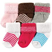 Luvable Friends Newborn Baby Socks 6 Pack, 0-3 Months, Pink