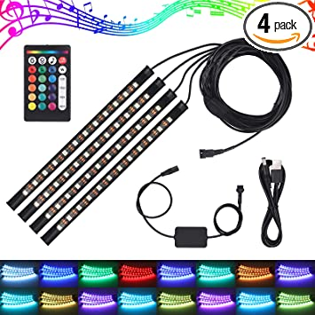 Justech Car LED Strip Lights 4PCS 36LEDs Multicolor Music Car Interior Atmosphere Lights RGB SMD LED Car Mood Lights with Sound Active Function and Wireless Remote Control for Car TV Home-USB Port