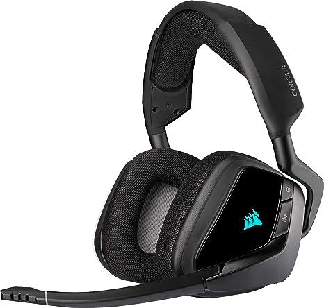 Corsair VOID ELITE RGB Wireless Auriculares para Juegos (7.1 Sonido envolvente, Inalámbrico de 2,4 GHz de baja latencia, 12 m de alcance, Personalizable Iluminación, Compatible con PC, PS4) Negro
