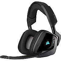 Corsair VOID ELITE RGB Wireless Cuffie Gaming con Microfono, Audio 7.1 Surround, Wireless 2,4GHz a Bassa Latenza, 12 metri di Portata, Personalizzabili Illuminazione con PC, PS4 Compatibilità, Nero