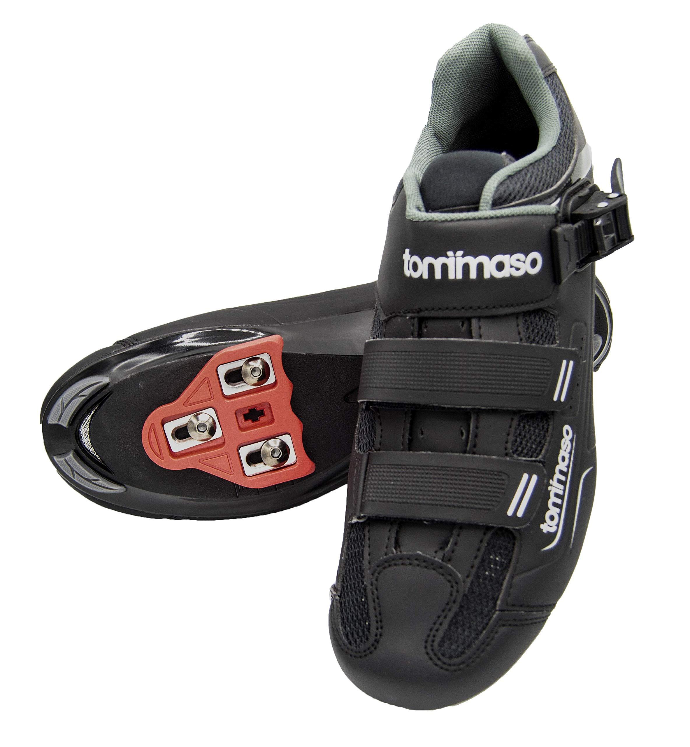 tommaso Strada 200 Dual Cleat Compatible Spin Class Ready Bike Shoe - Look Delta - 44 Black by tommaso