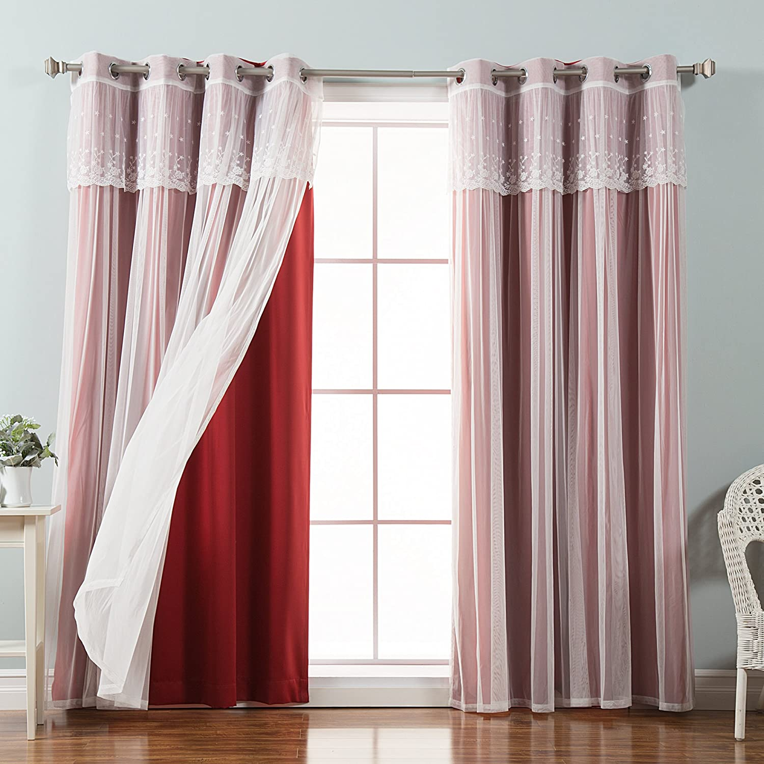 Best Home Fashion Mix & Match Tulle Sheer with Attached Valance & Solid Blackout Curtain Set, Stainless Steel Nickel Grommet Top, Cardinal Red