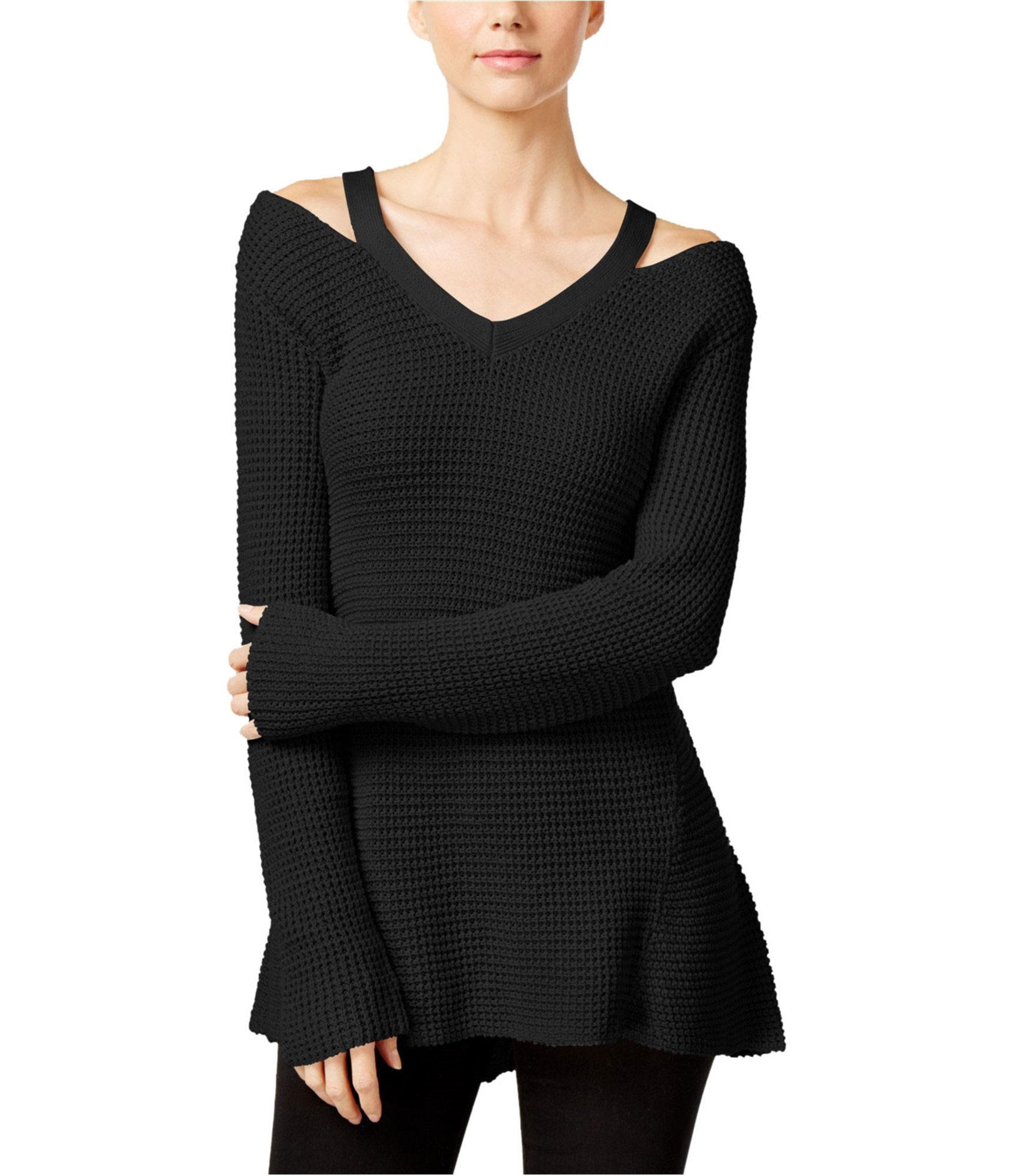 Style & Co. Womens Petites Open-Shoulder Hi-Low Pullover Sweater Black PM