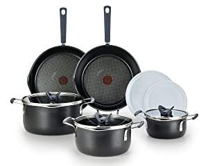T-fal B210SA All-in- One Stackables Titanium Nonstick 10 Pieces Cookware Set, Multifunctional, Dishwasher Safe, Black, Pcs