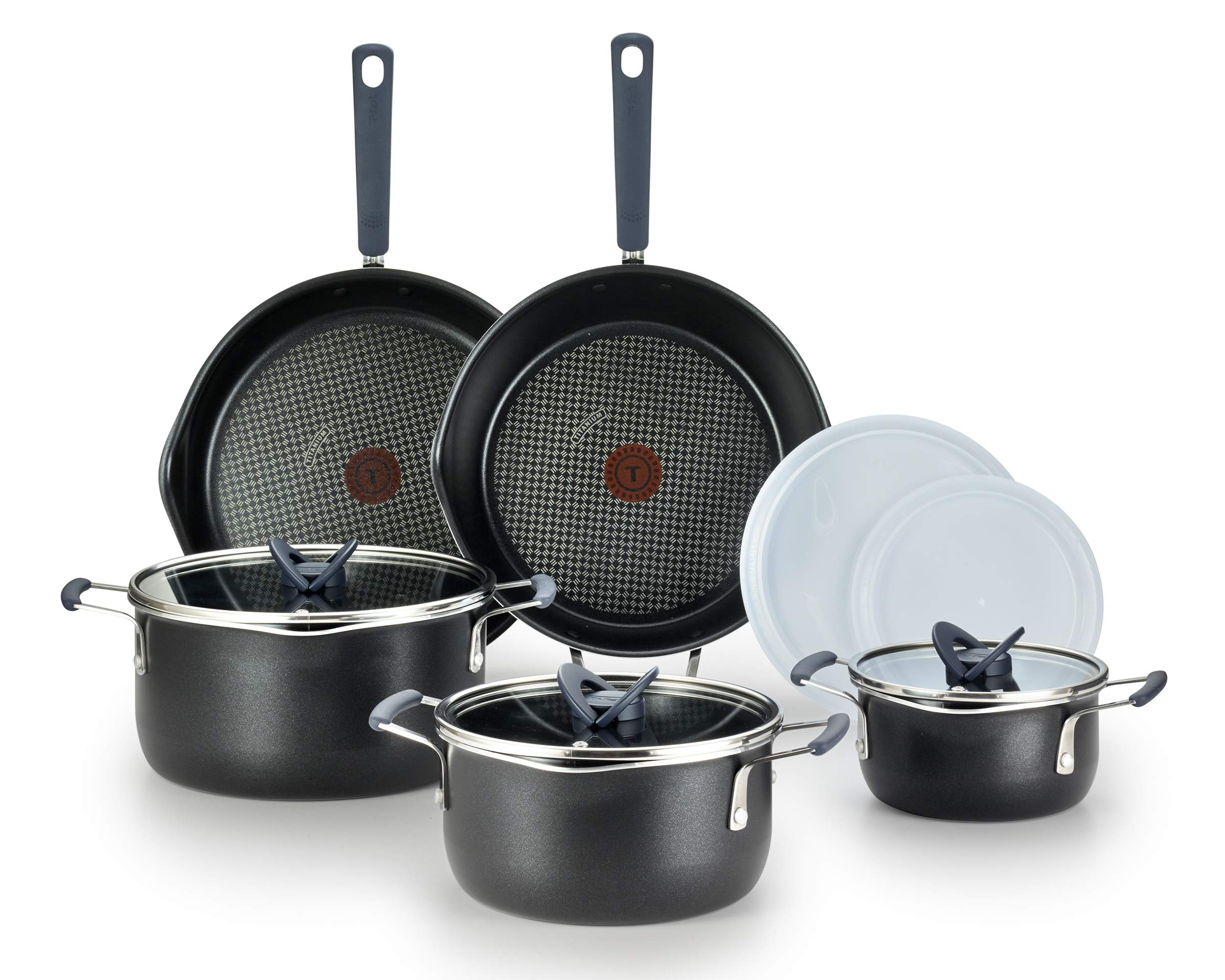 T-fal B210SA All-in- One Stackables Titanium Nonstick 10 Pieces Cookware Set, Multifunctional, Dishwasher Safe, Black
