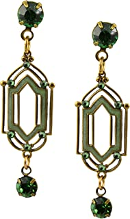 product image for Anne Koplik Earrings, Antique Brass Plated Double Vision Dangle Post