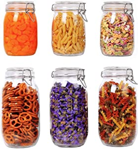 ComSaf Airtight Glass Canister Set of 6 Food Storage Jar Round - Storage Container with Clear Preserving Seal Wire Clip Fastening for Kitchen Canning Cereal,Pasta,Sugar,Beans,Spice