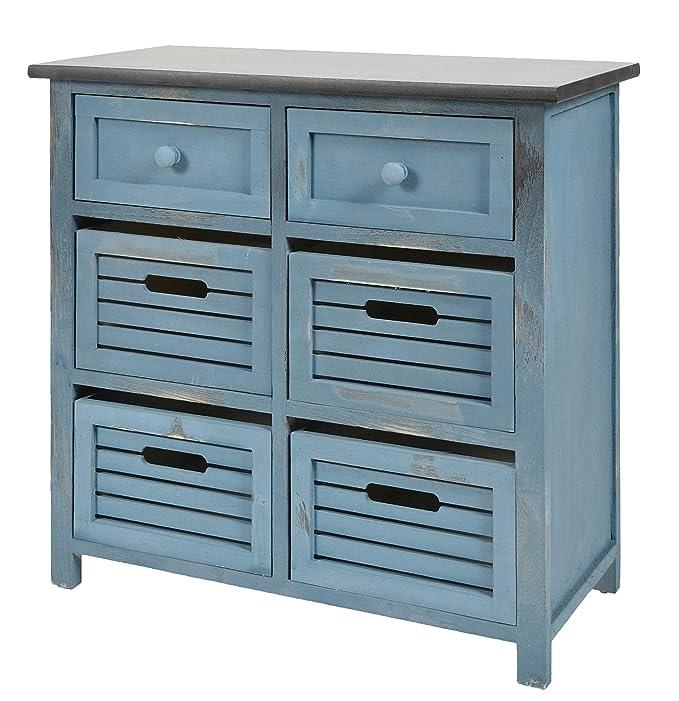 Cómoda shabby con 6 cajones color azul con superficie negra de estilo rústico para baño