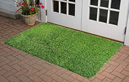 Star Bazaar18 Polyester Blend Artificial Grass Mat for Balcony Doormat Size - (940 X 60 cm, Green)