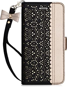 Homelove WWW iPhone 6S Plus Case, iPhone 6 Plus Case, [Luxurious Romantic Carved Flower] Leather Wallet Case with [Inside Makeup Mirror] and [Kickstand Feature] for Apple iPhone 6/6S Plus Black