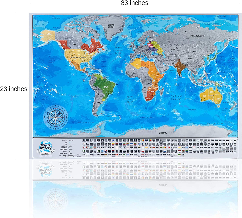 Cartina Mondo Per Viaggi.Gratta Mappa Viaggio Con Bandiere Personale Mappa Del Mondo Multicolore 84x57x2 Cm Mappa Con Bandiere Citta Profondita Dei Mari Made In Eu Amazon It Cancelleria E Prodotti Per Ufficio