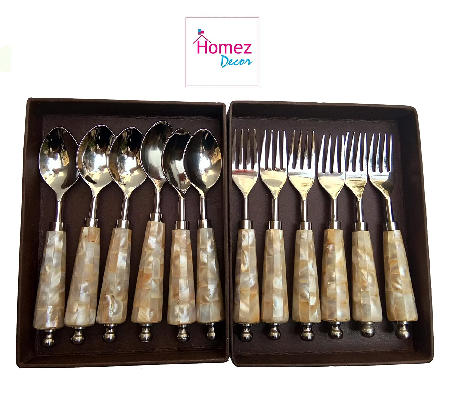 Homez Decor12 Piece Round Mother Of Pearl Cutlery Set Contains 6