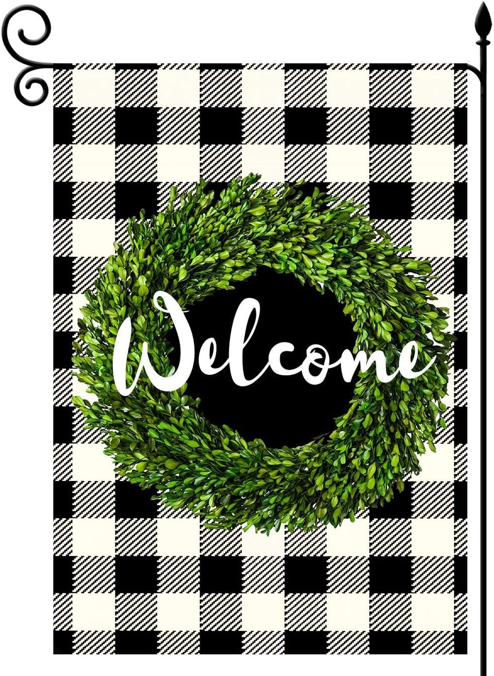 YaoChong Welcome Boxwood Wreath Garden Flag Vertical Double Sided, Buffalo Check Plaid Rustic Farmhouse Spring Burlap Black and A Little Yellow Outdoor Decoration 12.5 x 18 Inch