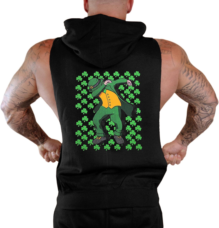 Interstate Apparel Mens Irish Dabbing Leprechaun Sleeveless Zipper Hoodie