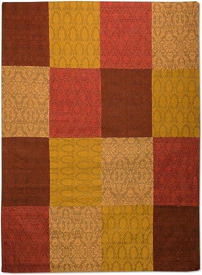 Morgenland patchwork tapis Weys à poils ras design vintage vert jaune vert foncé