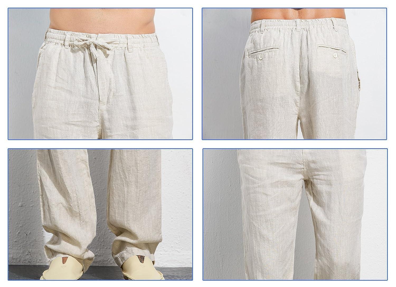 587649f21b UAISI Pantalones de Lino para Hombre Verano Cómodo Largo Cintura Elástica  Casual Pantalón Blanco  Amazon.es  Ropa y accesorios