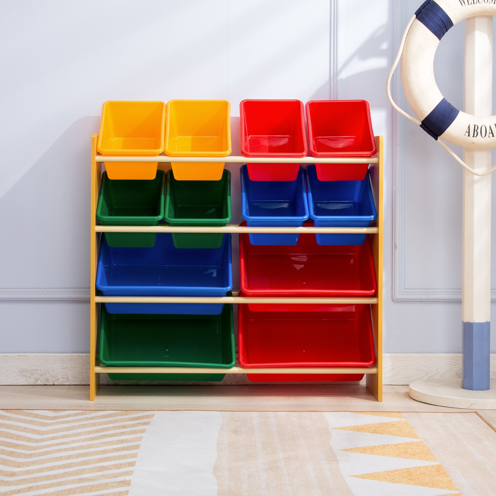 Mecor Kids' Toy Bin Storage Organizer Box Shelf Drawer, with 12 Extra Large 4 Color Plastic Bins, for Kids Bedroom Playroom Furniture Set,Primary Collection/Natural