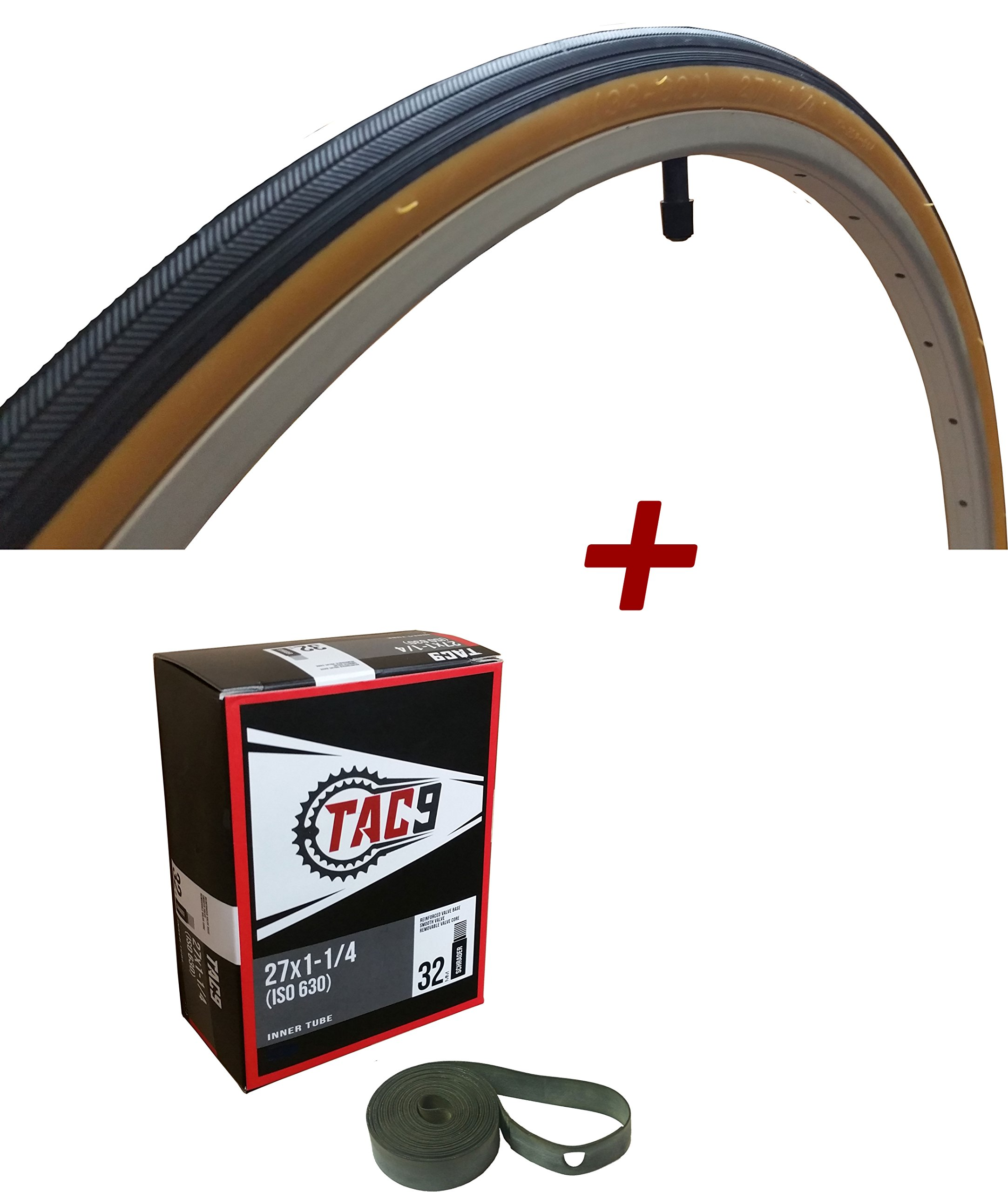 TAC 9 - 27x1-1/4 Bike Tire, Bonus Tube and Rim Strip - Select Gum Wall or Black Wall by TAC 9