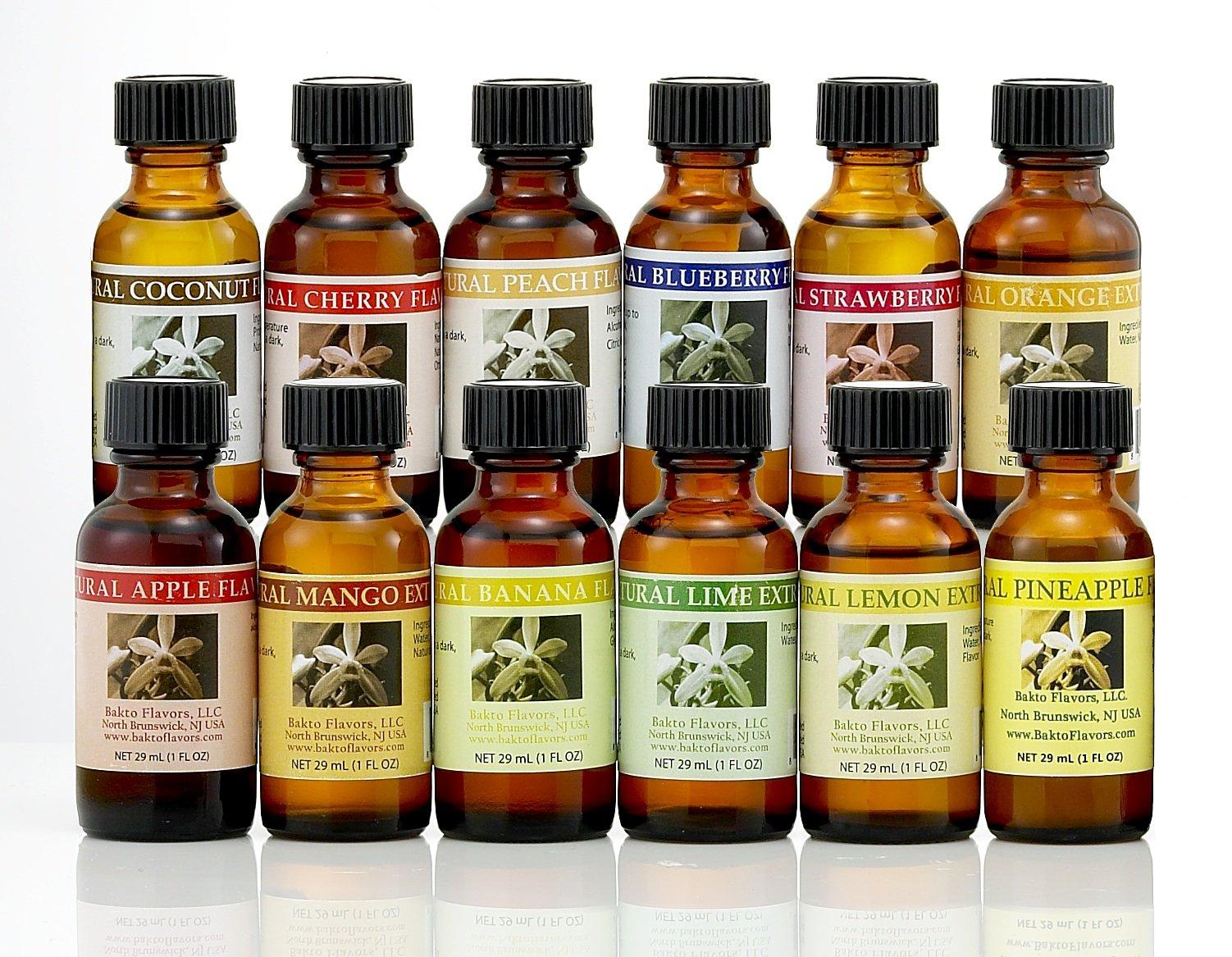 Bakto Flavors Natural Fruit Frenzy Collection - 1 FL OZ Bottles - Set of 12, Gift Box