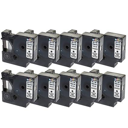 10 Compatibles Casetes D1 45022 negro sobre plata 12mm x 7m cintas ...