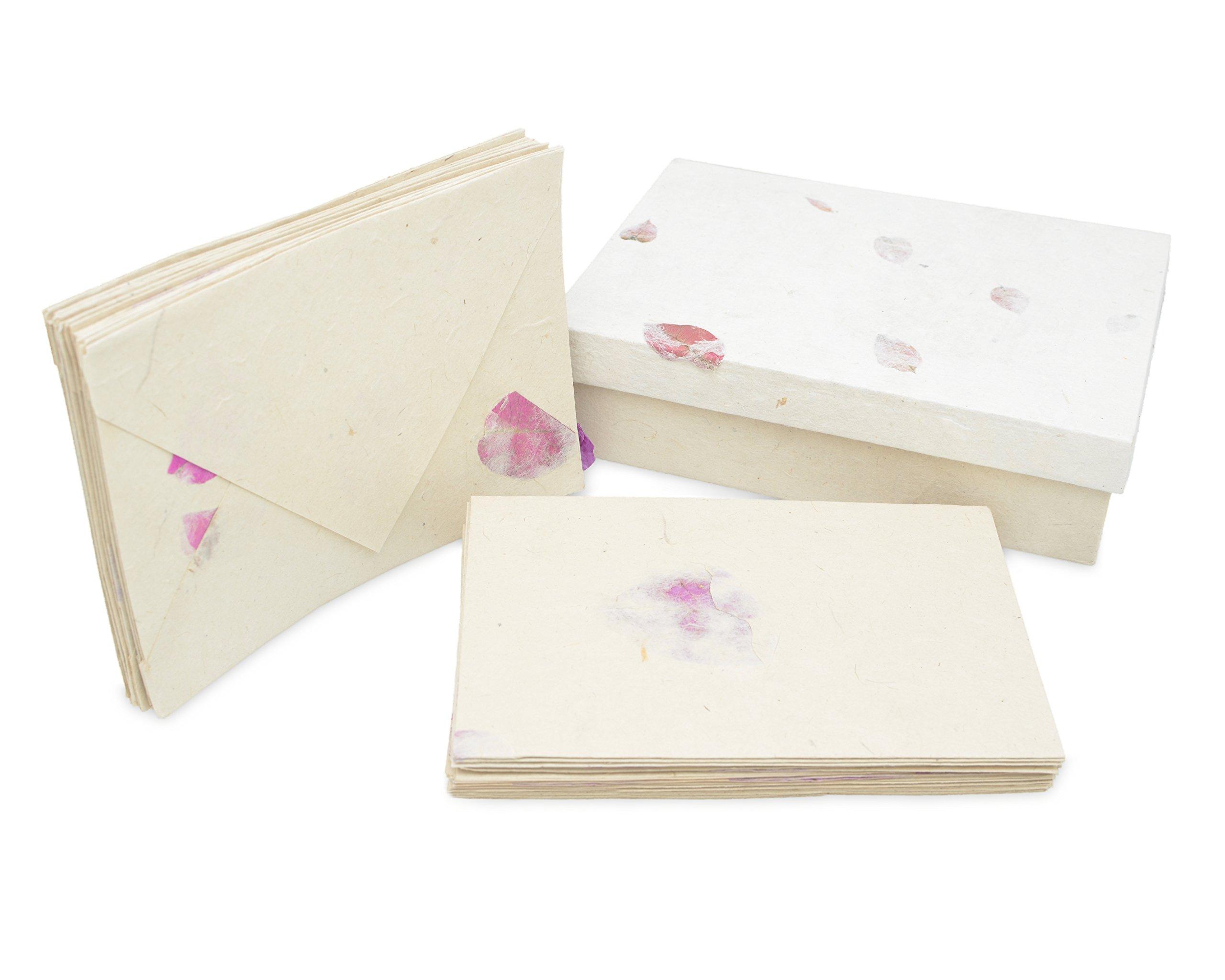Nepali Cherish Greeting Card & Envelope Box Set with Handmade Lokta Paper from Nepal, 15 Cards (Bougainvillea)