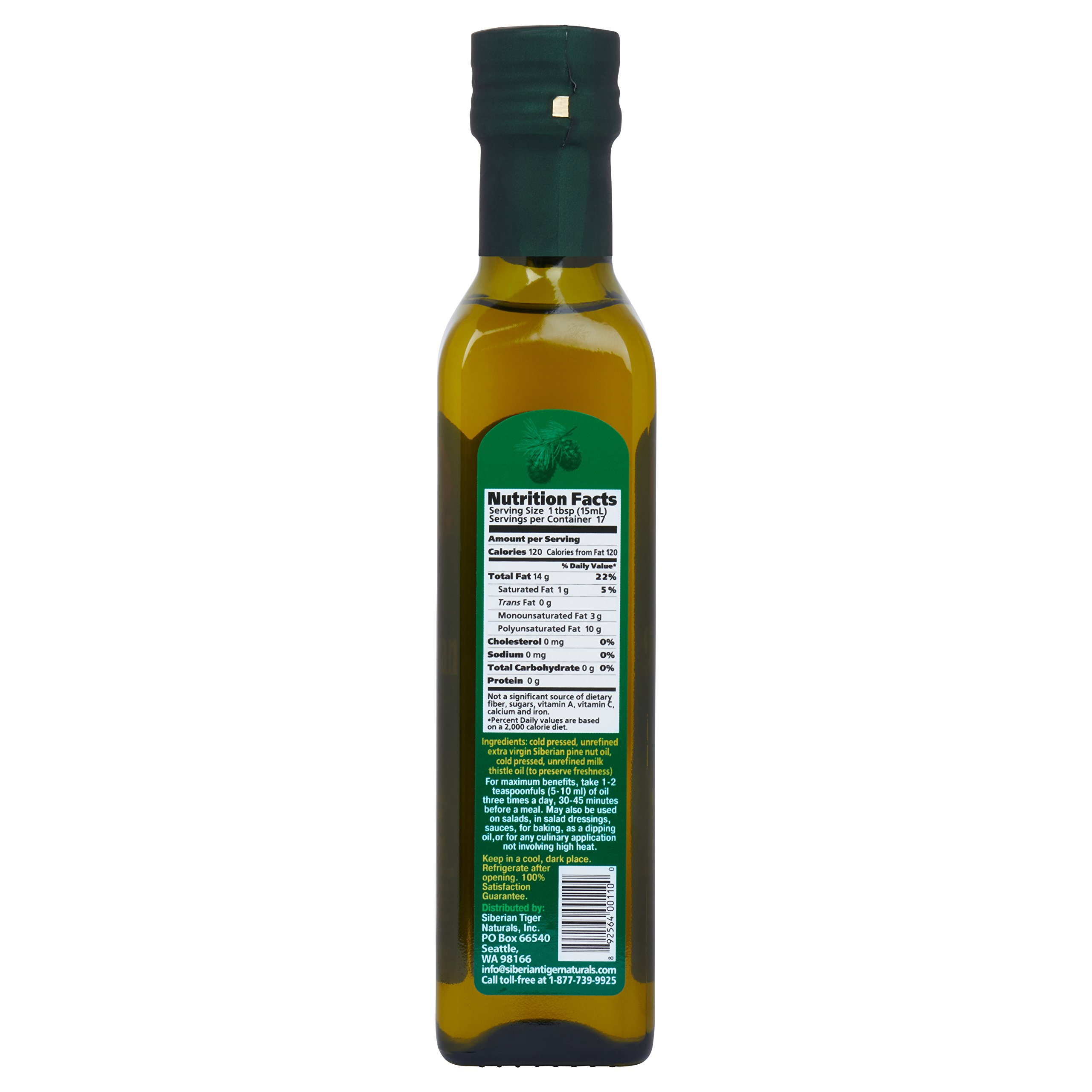 Extra Virgin Siberian Pine Nut Oil, 8.5 oz. Bottle - Premium Quality, Unrefined, 100% Natural - Benefits Overall Health & Aids Gastritis, Ulcers, Digestive Issues by Siberian Tiger Naturals (Image #2)