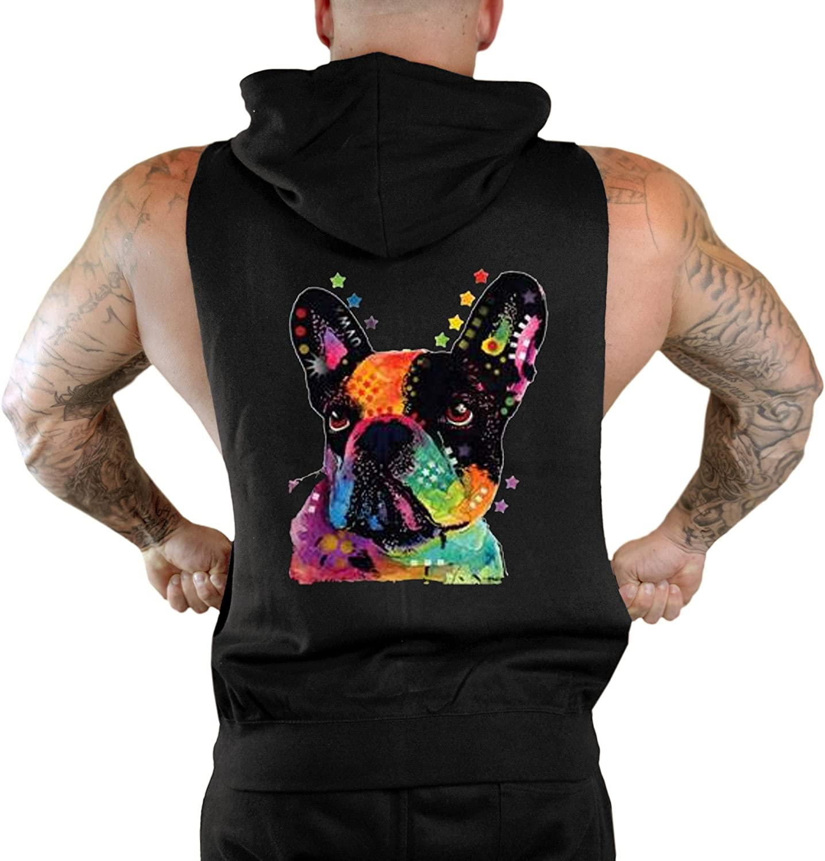 Interstate Apparel Mens Neon French Bulldog Sleeveless Zipper Hoodie