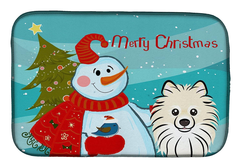 Caroline 's Treasures bb1827ddm Snowman withポメラニアンディッシュ乾燥マット、14 x 21、マルチカラー   B07BQHFPY7