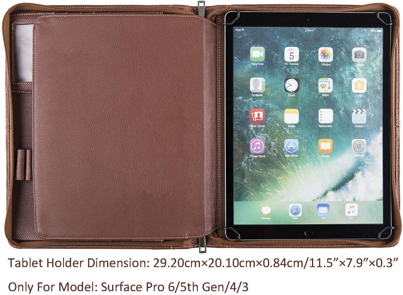 4//3 Dossier d/écriture A4 Sac Organisateur de Dossier-Tablette 5e g/én/ération Dossier de conf/érence en Cuir Fait /à la Main avec Fermeture /à glissi/ère pour Surface Pro 6