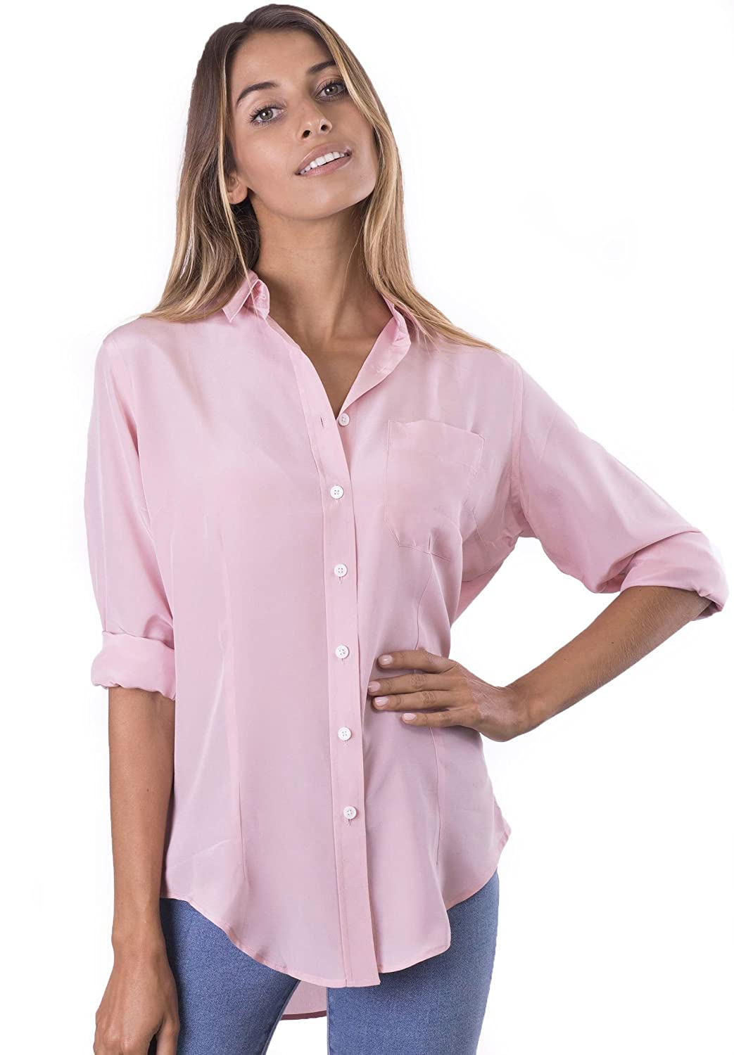 f4c699cd79142 CAMIXA Womens 100% Silk Blouse Long Sleeve Ladies Shirts Slim-fit Button Up  Pure at Amazon Women s Clothing store