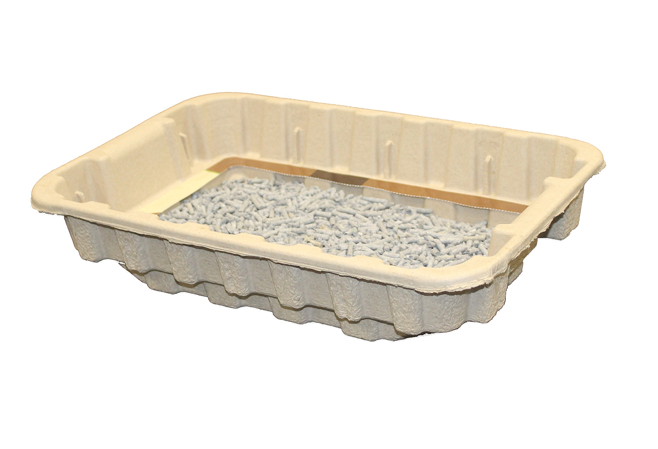 Disposable Cat Litter Boxes, Pre-Filled with 100% Recycled Paper Litter Pellets- 5 Pack of Trays- Includes Litter. Eco Friendly! Simply Peel Off Perforated Lid, Use, Dispose of Entire Tray! 7