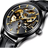 Relojes Hombre Reloj Automatico de Hombre Mecanicos Militar Deportes Impermeable Esqueleto Oro Lujo Diseño Relojes de Pulsera de Cuero Negro Luminosos Analógico