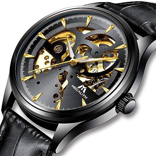 Relojes Hombre Reloj Automatico de Hombre Mecanicos Militar Deportes Impermeable Esqueleto Oro Lujo Diseño Relojes de Pulsera de Cuero Negro Luminosos ...