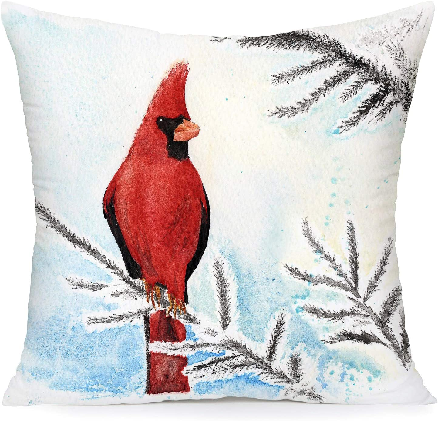 Amazon Com Royalours Pillow Covers Cardinal Snow Branch Pattern Super Soft Throw Pillow Case Cushion Cover Home Sofa Winter Red Bird Decorative Pillowcase 18 X 18 Inches Winter Bird2 Home Kitchen