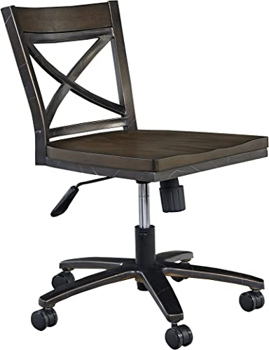 Home Styles Swivel Desk Chair with Metal Tube Frame, Dual Casters on Each Foot, Pneumatic Lift Height Adjustment, and Shaped Seat