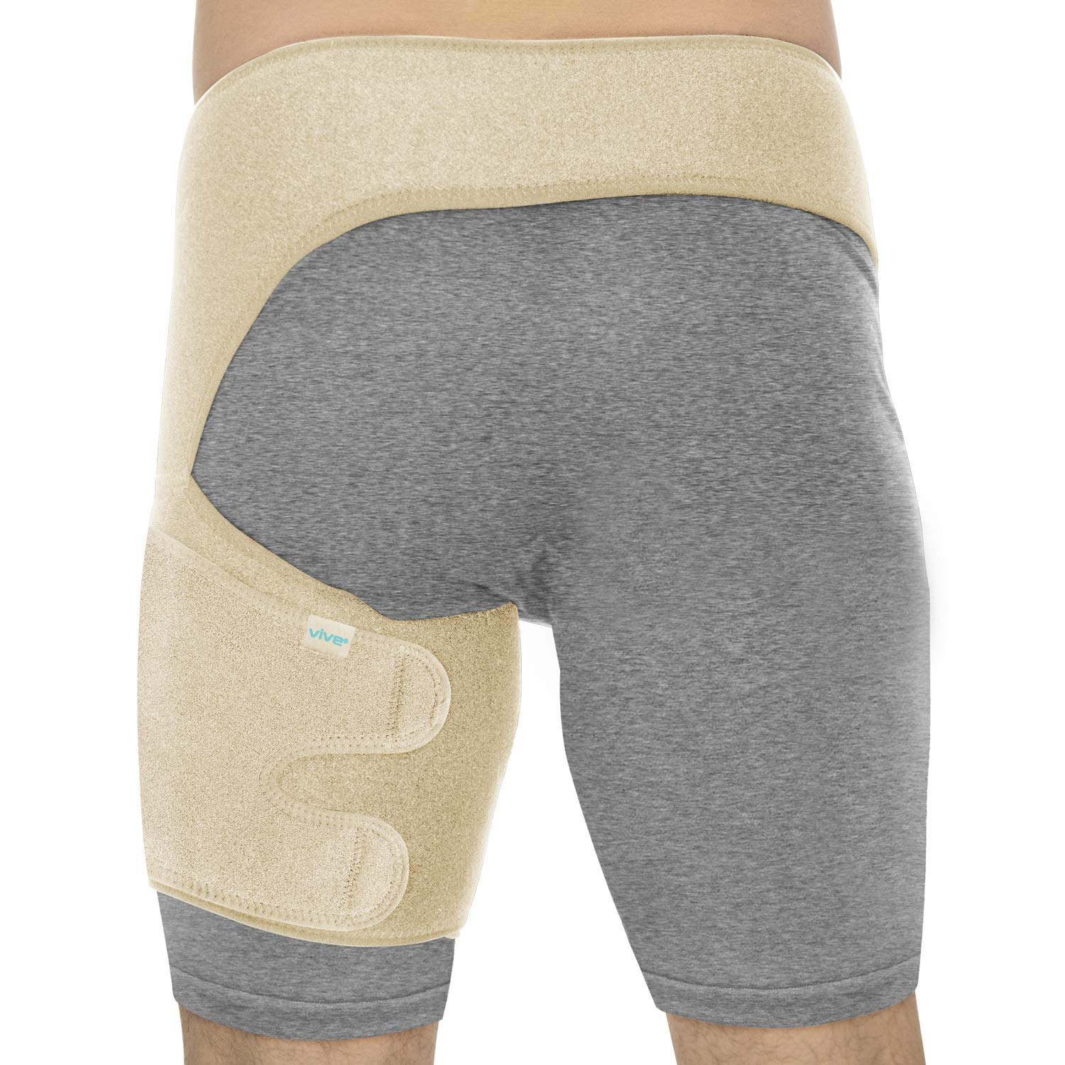 Vive Groin & Hip Brace - Sciatica Wrap for Men & Women - Compression Support for Nerve Pain Relief - Thigh, Hamstring Recovery for Joints, Flexor Strains, Pulled Muscles (Beige, Waist: 25''-48'')