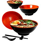 Vallenwood 4 Noodle Bowl (16 piece) Melamine Large Ramen Bowls Set. Asian Chinese Japanese or Pho Soup 32oz. With Spoons…