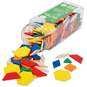 edxeducation Plastic Pattern Blocks - Set of 250 - Early Geometry Skills - Math Manipulative for Shape Recognition, Symmetry, Patterning and Fractions - Ages 4+