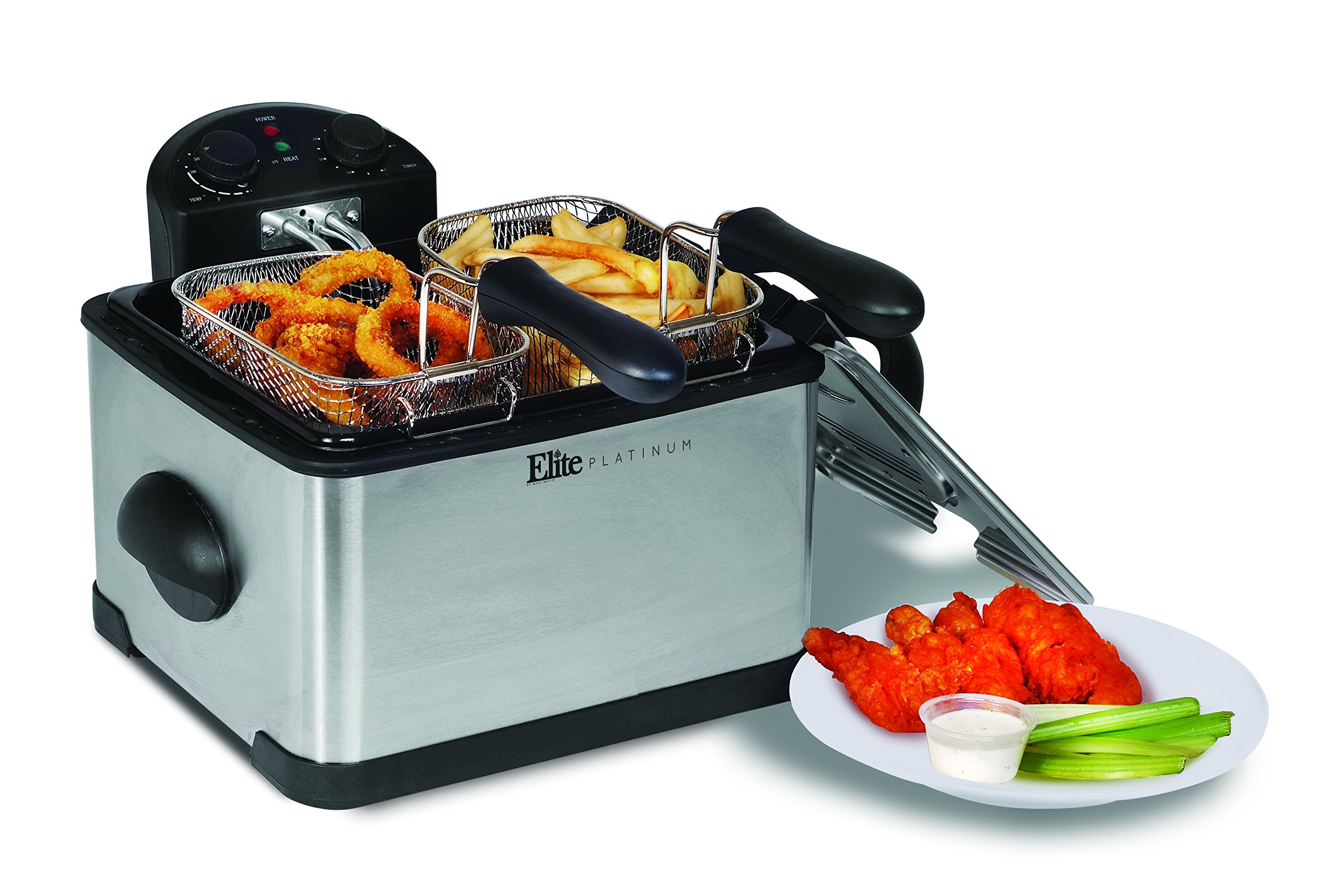 Elite Platinum EDF-401T Maxi-Matic 1700-Watt Stainless-Steel Triple Basket Electric Deep Fryer with Timer and Temperature Knobs and Odor Free Filter, 4.2L/17-Cup