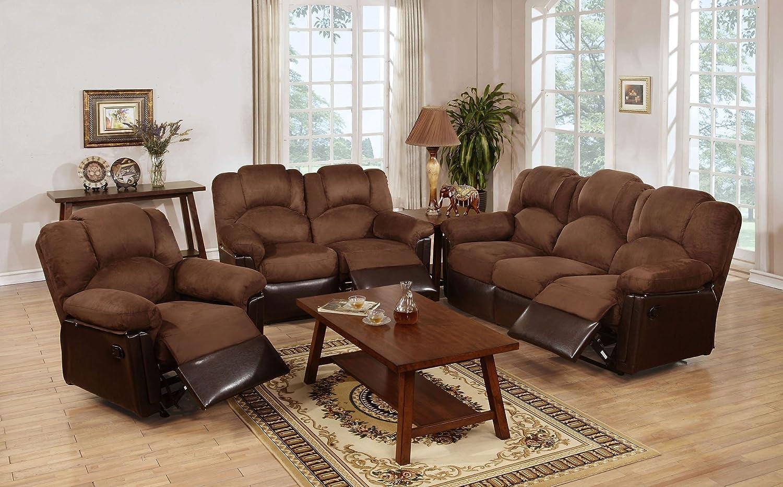 Amazon com 3pcs modern chocolate plush microfiber recliner sofa loveseat glider recliner set for living room kitchen dining
