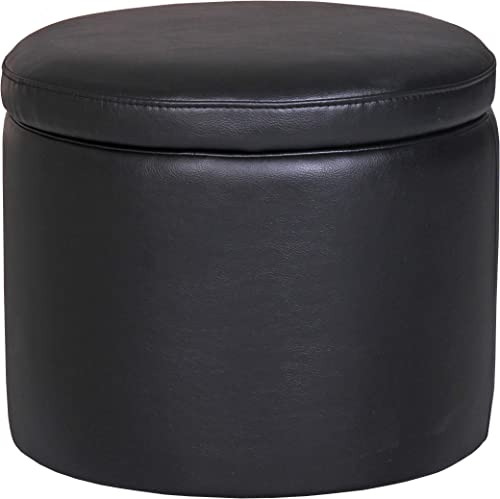 Amazon Brand Rivet Madison Modern Vegan Faux Leather Round Lift-Top Storage Tray Ottoman Pouf