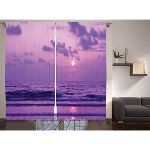 Ambesonne Ocean Decor Collection, Mystic View Of Sunset Over A Tranquil Sea  With Small Waves
