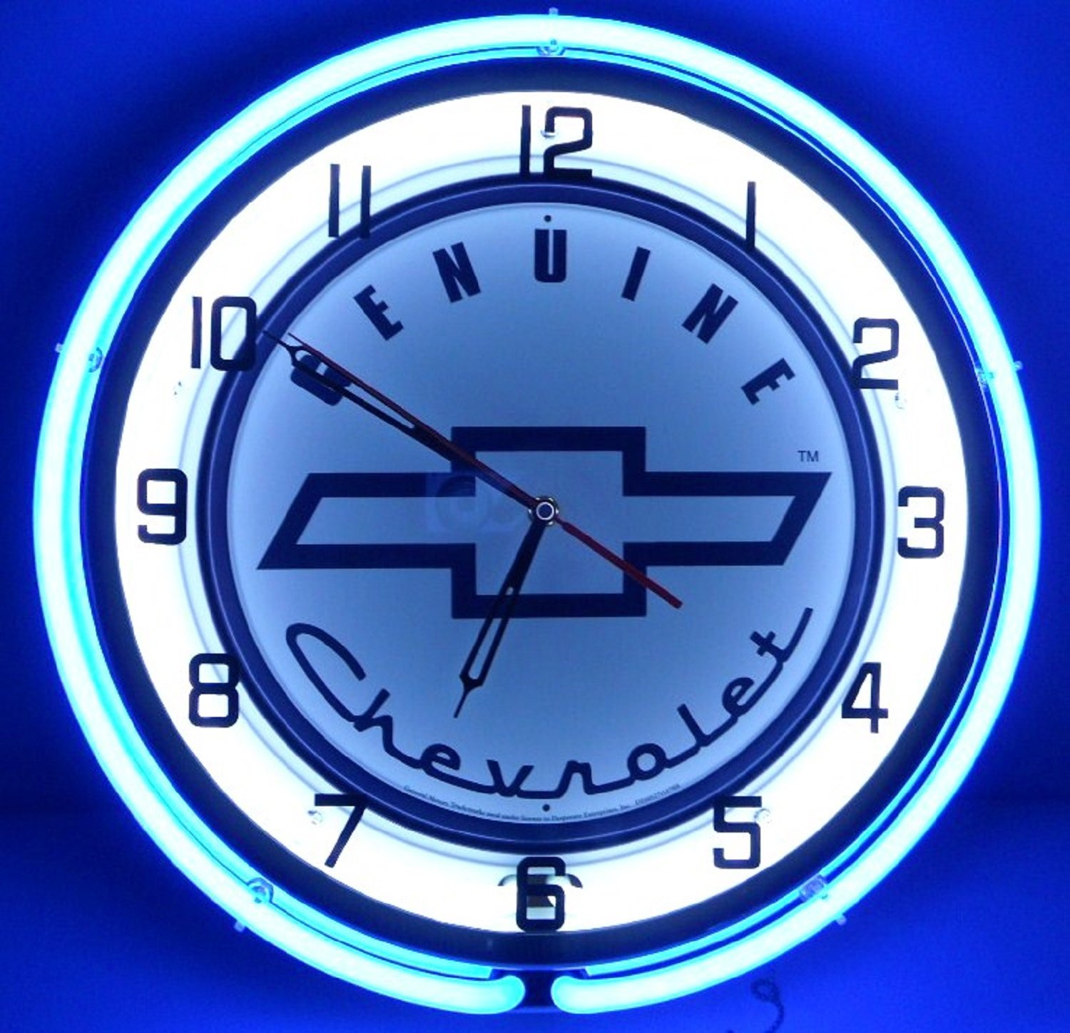 Amazon genuine chevy 18 double neon lighted wall clock sign amazon genuine chevy 18 double neon lighted wall clock sign white blue home improvement amipublicfo Image collections