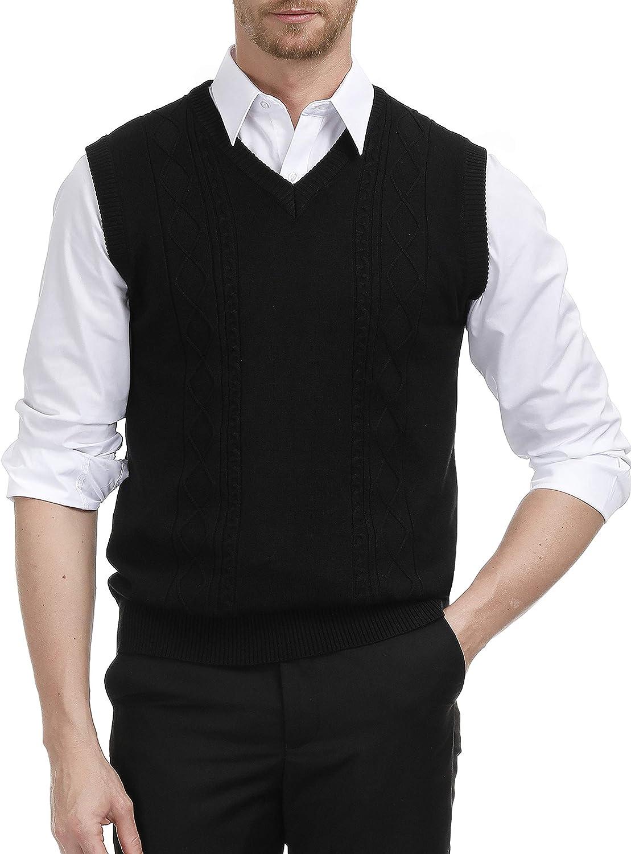 PJ PAUL JONES Mens V Neck Sweater Vest Argyle Cable Stich Soft Knit Pullover Vest