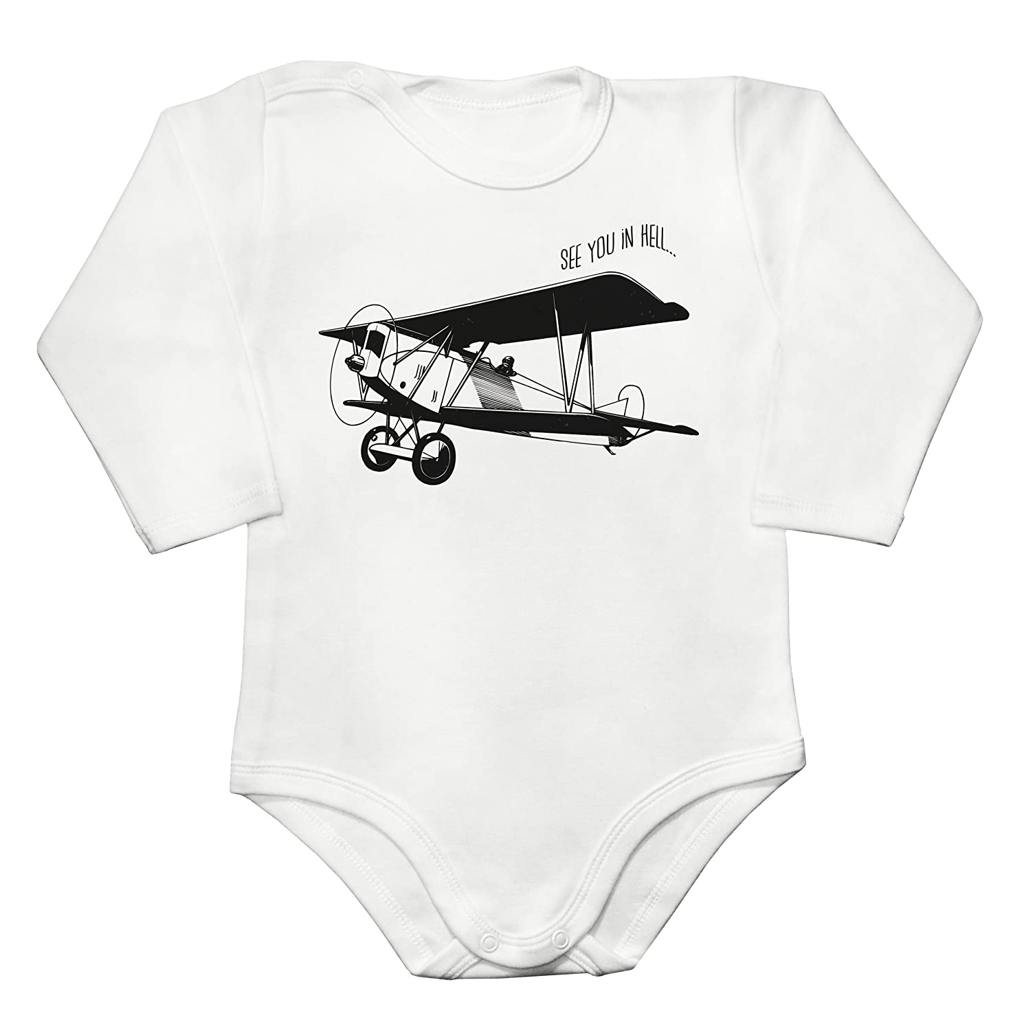 Amazon.com: See You In Hell Small Amateur Plane Baby Long Sleeve Romper  Bodysuit: Clothing