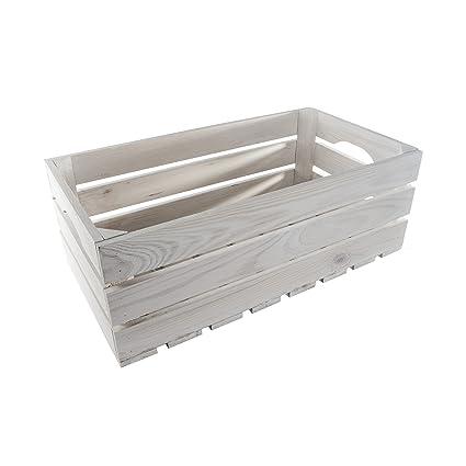 SEARCH BOX - Caja Grande de Madera Blanca para Guardar Frutas, Verduras, Manzanas,