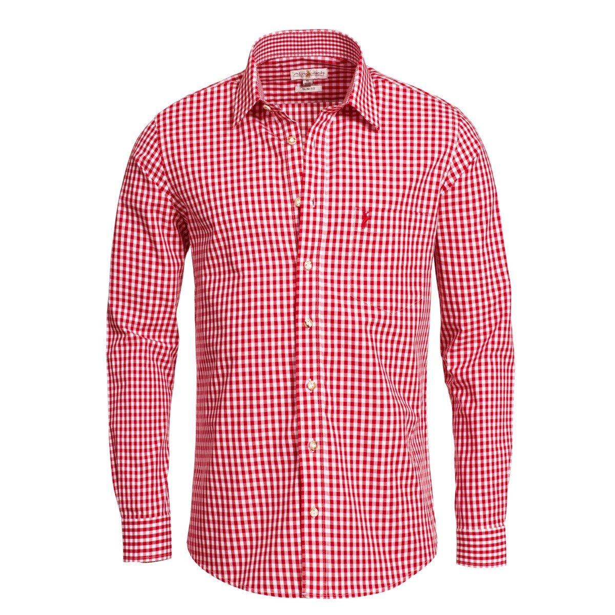Almsach Herren Trachten-Mode Trachtenhemd Slimline Liberto in Rot inkl. Volksfestfinder Traditionell