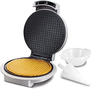 """Proctor Silex Waffle Cone and Ice Cream Bowl Maker with Browning Control, Shaper Roller and Cup Press, 7.5"""" Nonstick Plates, White (26410)"""